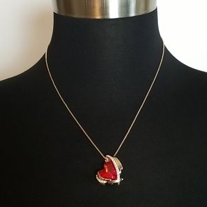 New Gold Tone Heart Rhinestone Necklace